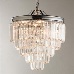 Love this for over the masterbath tub!! Modern Faceted Glass Layered Mini Chandelier - Convertible
