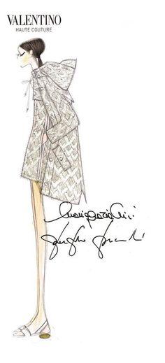 A Haute Couture illustrations from the Sala Bianca 945 catwalk in New York City, last December 10th, 2014. Maria Grazia Chiuri and Pierpaolo Piccioli for Valentino Sketch