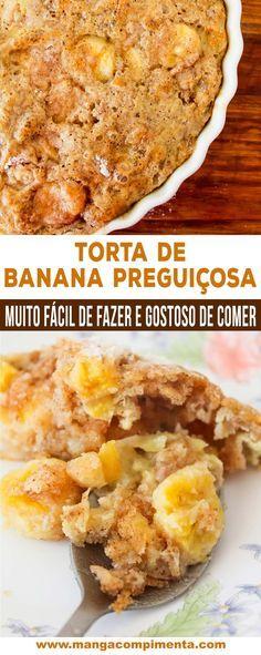 Torta de Banana Preguiçosa | Fácil de fazer e delicioso de comer, prepare para o dia das mães! #receita #comida #doces #banana