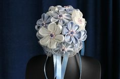 Bridal bouquet ivory and blue/silver kanzashi by WeddingFlair, £85.00