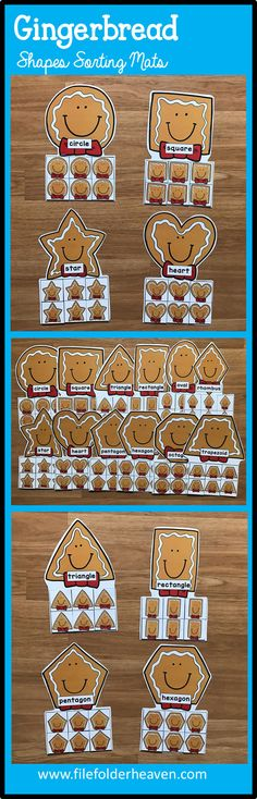 These Gingerbread Man Shapes Sorting Mats include 12 unique sorting mats that focus on sorting gingerbread men by shapes.  In a center or independent work station, students sort gingerbread man shapes into the gingerbread man mat that is the same shape.  Shape mats included are:  circle square triangle rectangle oval heart star rhombus trapezoid pentagon hexagon octagon