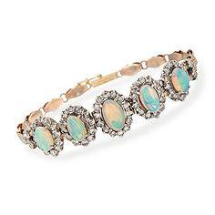 Opal Bracelet, Birthstone i want this! I Love Jewelry, Opal Jewelry, Body Jewelry, Jewelry Box, Jewelry Accessories, Fine Jewelry, Gold Jewellery, Wedding Jewelry, Diamond Jewelry
