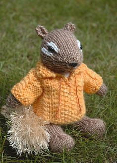 Peanut, a chipmunk with a cable pullover. He's sweet on his own, but in the pullover he looks like the star of a 70's knitting pattern book