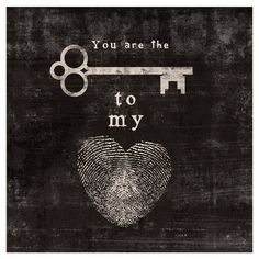 You Are the Key to my Heart Wall Art #wall_art #word_art #infinity #love #romance #couples #art #key