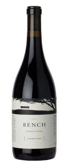 Another lovely way to incorporate a sketch or photo in top 1/3 of label. Bench, Pinot Noir