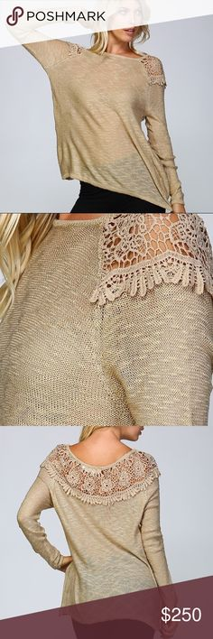 ⭐️FLASH SALE⭐️ Coffee Knit Crochet Pullover Taupe : Contrast Venice appliqué around shoulders and upper back : Raglan style long sleeves : Ribbed cuffs and hem : Textured yarn : 75% acrylic 25% mohair   Price firm unless bundled.  Measurements  S/M : bust 20 : waist 20 : hips 21 : sleeve length 26 : length 27  M/L : bust 21 : waist 21 : hips 22 : sleeve length 26 1/2 : length 27 1/2 posh on first boutique Sweaters