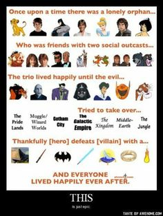 What do The Lion King, Harry Potter, Batman, Star Wars, Cinderella, LOTR & The Jungle Book have in common? Everything. lol.