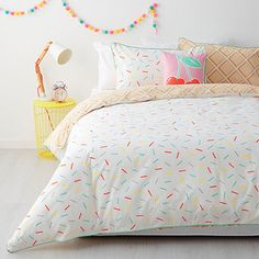 Our Ice Cream quilt cover set is a great way to bring a new look to a childs room. With a soft, comfy 225 thread count cotton polyester fabric and a modern clean pattern you will be assured of plenty of great nights wrapped up in this bedding set. Girl Bedroom Designs, Bedroom Themes, Girls Bedroom, Bedrooms, Bedroom Ideas, Cream Bedding, Bedding Sets, Cream Room, Feminine Bedroom