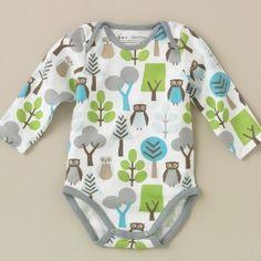 DwellStudio Owls Sky Long Sleeve Bodysuit #gift #baby