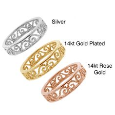 14-karat Gold Plating over Sterling Silver Cutout Filigree Ring | Overstock.com