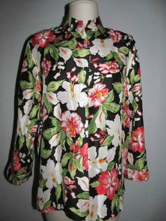 Love bold prints?  This Jones New York is for you!  Black with pink/white hibiscus flowers in silk - size medium.