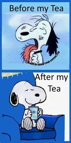 Snoopy before and after coffee! Brought to you for your enjoyment by Just-In-Cas… Snoopy before and after coffee! Snoopy Love, Charlie Brown And Snoopy, Snoopy And Woodstock, Peanuts Cartoon, Peanuts Snoopy, Peanuts Movie, Morning Humor, Good Morning Quotes, Funny Morning