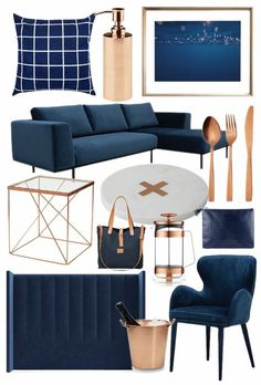 Best bits from the Navy and Copper Homewares Trend : navy and copper homewares mood board tlc interiors Blue And Copper Living Room, Navy Living Rooms, Navy And Copper, Home Living, Navy Copper Bedroom, Copper Living Room Decor, Copper Room, Mood Board Interior, Interior Design Boards
