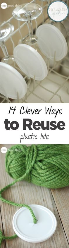 How to Reuse Plastic Lids, Plastic Lid Uses, Things to Do With Old Tupperware, How to Recycle Lids, Repurpose Projects, Cool Life Hacks, Life Hacks That Actually Work, Organization TIps, Easy Organization Hacks, Popular Pin