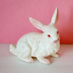 Napcoware White Rabbit Bunny Ceramic by RelicsAndRhinestones