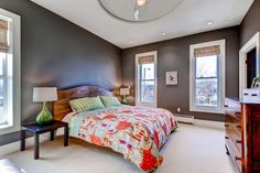 Dark gray is a super popular color in bedrooms lately...this illustrates why!