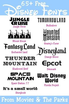 65 Free Disney Fonts from the Movies & Parks Your Everyday Family - Fonts - Ideas of Fonts - 65 Free Disney Fonts from the Movies & Parks Your Everyday Family Disney Diy, Disney Crafts, Disney Trips, Disney Love, Disney Ideas, Disney Family, Disney Parks, Walt Disney, Disney Scrapbook