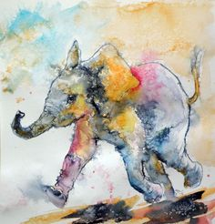 ARTFINDER: Playing elephant baby II by Kovács Anna Brigitta - Original watercolour painting on high quality watercolour paper. I love landscapes, still life, nature and wildlife, lights and shadows, colorful sight. Thes...