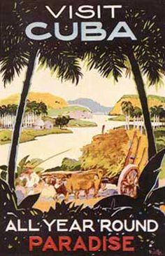 Visit Cuba Poster Fine Art Vintage Giclee Print