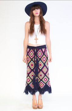 Crochet Granny squares Maxi Skirt by awildatheart on Etsy, $98.00