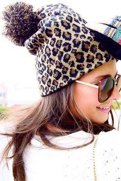 Leopard Print Pom Pom Beanie