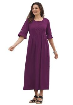 Woman Within Plus Size Dress In Maxi Length With Crochet Trim (Purple Passion,1X) | Traveling Of Life