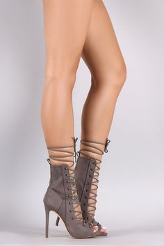Suede Lace Up Peep Top Stiletto Booties – Style Lavish