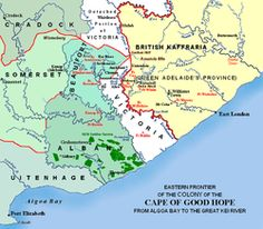Map of the Eastern frontier of Cape Colony with British Kaffraria (now all part of South Africa), History Classroom, Teaching History, Cape Colony, Family Tree Research, African House, Xhosa, Victoria British, Around The World In 80 Days, History Online