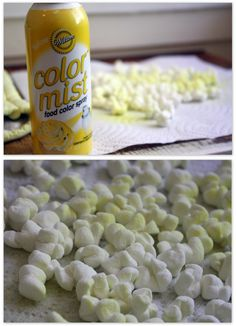 popcorn marshmallows decorating yellow spray food coloring