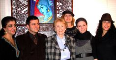 Generation D: Identities - An Art Exhibit Celebrating Diversity in Jewish Art.    Organized by the Jewish Art Salon and the Flomenhaft Gallery, NYC, 2010.   L to R: Siona Benjamin (with her art in the background), Julian Voloj, Eli Flomenhaft, Yona Verwer, Elke Reva Sudin, Lacey Schwartz.