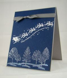 handmade Christmas card from Stampin' with Jaydee .... navy base with white inking ... Lovely as a Tree and Santa with his reindeer ... Stampin' Up!