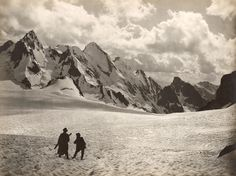 Caucasus, Russia This Month in Photo of the Day: Vintage National Geographic Photographs Two men look toward mountain peaks in the Caucasus in this photo by Vittorio Sella that dates to around National Geographic Archives, National Geographic Photography, Mountain Pictures, Vintage Landscape, Landscape Wallpaper, Mountain Landscape, Color Of Life, Best Photographers, Adventure Is Out There