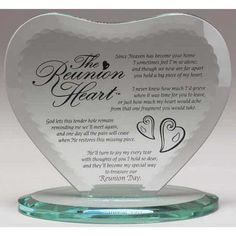 The Reunion Heart Glass Plaque With Base