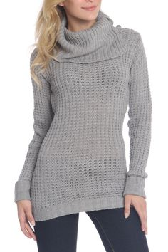 Asymmetrical Collar Sweater in Heather Gray - Beyond the Rack