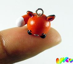 Cute Kawaii Polymer Clay Mini Chibi Fox Charm by RachelMarieClay, $6.00