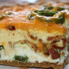 Bacon Jalapeno Popper Quiche///////// OMG!!! The best quiche I've ever had, and I make a lot of quiches. So different.