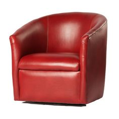 Draper Swivel Barrel Red Accent Chair By Comfort Pointe