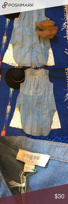 BNWT Umgee denim and lace tunic dress BNWT Umgee denim and lace tunic dress. Buttons up and has pockets. Can be worn as a tunic or a dress for the shorter ladies. So cute! Umgee Tops Tunics