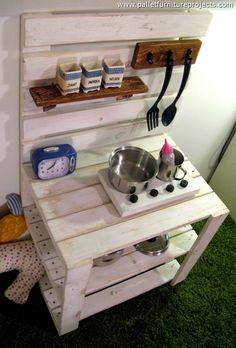 repurposed wooden pallet kids mud kitchen