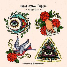 Hand drawn spiritual tattoos  Free Vector