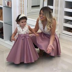 mother daughter matching dresses 2020 beaded lace appliqué dusty pink prom gown kids prom dress (price is for both mother and daughter dresses) Kids Prom Dresses, Elegant Prom Dresses, Prom Dresses 2018, Mothers Dresses, Wedding Party Dresses, Dress Prom, Evening Dresses, Party Gowns, Mom And Baby Dresses