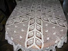 Oval crochet tablecloth