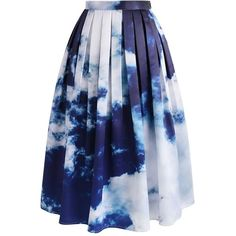 Chicwish Live Out Cloud Midi Skirt ($40) ❤ liked on Polyvore featuring skirts, blue, print midi skirt, blue slip, patterned skirts, midi skirt and patterned midi skirt