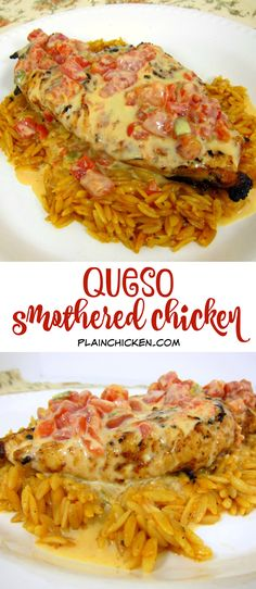 ********Easy Queso Smothered Chicken - Tex-Mex grilled chicken smothered in Queso and served over southwest seasoned orzo. SO quick and easy to make.This chicken is AMAZING! I wanted to lick my plate! Turkey Recipes, Mexican Food Recipes, New Recipes, Cooking Recipes, Favorite Recipes, Recipies, Grilling Recipes, Quick And Easy Recipes, Orzo Recipes