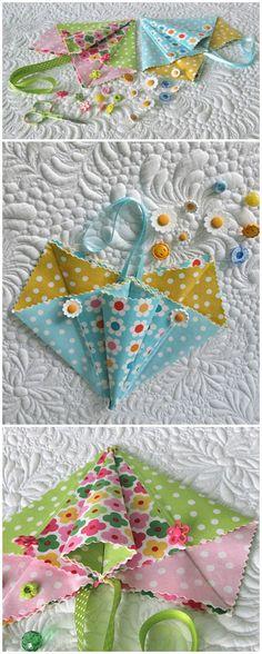Fabric origami pockets- heart shape - quick and easy gift bag ideas. via @getagrama