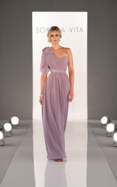 Style #8472 - Convertible Chiffon gown with Satin belt by Sorella Vita. Features two streamers on the front and back of the dress - create more than 18 different looks.