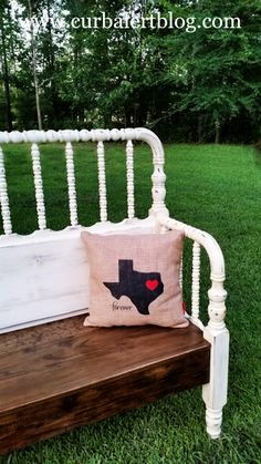 """""""Bless Your Heart"""" Texas Headboard Bench Jenny Lind Bed, Annie Sloan Old White, Making A Bench, Headboard Benches, Texas Forever, Old Beds, Baby Cribs, Porch Swing, Old Dressers"""