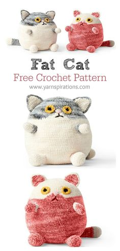 Adorable Fat Cat Free Crochet Pattern and Paid The adorable Fat Cat Free Crochet Pattern is a great project for scrapbuster. This would be a wonderful gift for any cat lover. Crochet Cat Toys, Crochet Animal Amigurumi, Knitted Cat, Crochet Bunny, Cute Crochet, Crochet Crafts, Crochet Projects, Knit Crochet, Crocheted Toys