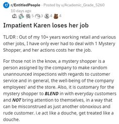 All Karen had to do was act like a regular shopper, but that was just too hard for her. #customer #Karen #secretshopper #lol #story #fail #wtf