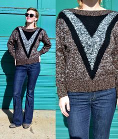 Baggy Vintage 80's CHEVRON Stripe Jumper METALLIC Oversized Knit Sweater | small medium Space Dyed Hipster Pullover Geometric Knitwear by LadyLazarusVintage on Etsy